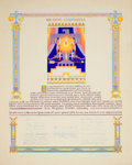 Paintings, AMERICAN ARTIST (20th Century). Certificate of Appreciation for Dean Cornwell from the Los Angeles Public Library. Gouac...