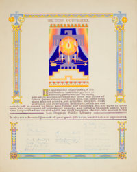 AMERICAN ARTIST (20th Century) Certificate of Appreciation for Dean Cornwell from the Los Angeles Public Librar