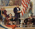 Paintings, DEAN CORNWELL (American, 1892-1960). Lincoln's First Inaugural Address. Mixed media on paper. 9.5 x 12 in.. Not signed. ...