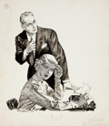 Pulp, Pulp-like, Digests, and Paperback Art, HAL STONE (American, 20th Century). Killer Among Us, storyillustration, 1958. Pen and ink on paper. 15.75 x 13.75 in.....