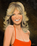 Pin-up and Glamour Art, STEVE DANIELS (American, 20th Century). Cheryl Tiegs in Red.Tempera on board. 20 x 16.25 in.. Signed lower right. F...