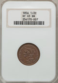 Half Cents, 1856 1/2 C XF45 Brown NGC. NGC Census: (3/249). PCGS Population(16/225). Mintage: 40,430. Numismedia Wsl. Price for proble...