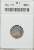 Bust Dimes: , 1809 10C AG3 ANACS. NGC Census: (0/41). PCGS Population (4/65).Mintage: 51,065. Numismedia Wsl. Price for problem free NGC...