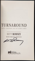 "Miscellaneous Collectibles:General, Mitt Romney Signed ""Turnaround"" Book...."