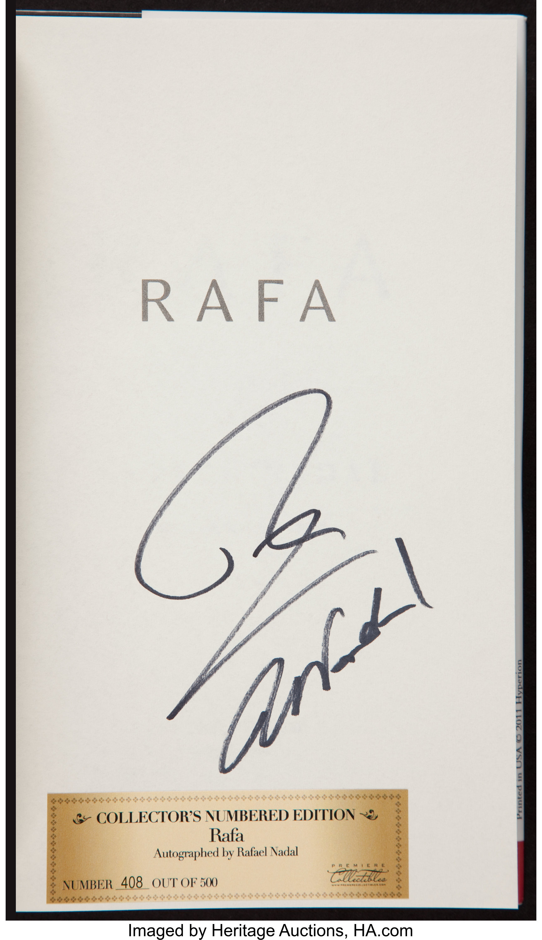 Rafael Nadal Signed Rafa Hardcover Book Miscellaneous Lot 40197 Heritage Auctions