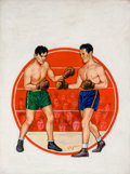 Pulp, Pulp-like, Digests, and Paperback Art, HARRY SCHAARE (American, b. 1922). Boxing illustrations (groupof three). Oil on canvas/board. 28.5 x 21 in.. Each signe...(Total: 3 Items)