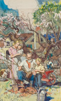 """Paintings, DEAN CORNWELL (American, 1892-1960). """"Raleigh Receiving the Charter"""", Study for Raleigh Room Mural. Pen and watercolor o..."""