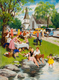 Mainstream Illustration, ARTHUR SARON SARNOFF (American, 1912-2000). A Church Picnic.Gouache on board. 27.5 x 20.5 in.. Signed lower left. F...