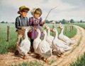 Mainstream Illustration, ARTHUR SARON SARNOFF (American, 1912-2000). Feeding theDucks. Oil on canvas. 22 x 28 in.. Signed lower left. Fromt...