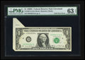 Error Notes:Foldovers, Fr. 1907-D $1 1969D Federal Reserve Note. PMG Choice Uncirculated63 EPQ.. ...