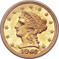 Liberty Quarter Eagles, 1846-C $2 1/2 MS63 PCGS Secure. Variety 1....