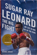 """Boxing Collectibles:Autographs, Sugar Ray Leonard Signed """"The Big Fight"""" Hardcover Book...."""