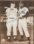 Baseball Collectibles:Photos, Mickey Mantle and Willie Mays Multi Signed Photograph Plaque....