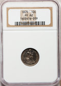 Proof Seated Dimes: , 1870 10C PR62 NGC. NGC Census: (11/104). PCGS Population (29/118).Mintage: 1,000. Numismedia Wsl. Price for problem free N...