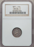 Seated Dimes: , 1857 10C MS64 NGC. NGC Census: (88/49). PCGS Population (49/20).Mintage: 5,580,000. Numismedia Wsl. Price for problem free...