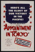 "Movie Posters:War, Appointment in Tokyo (Warner Brothers, 1945). One Sheet (27"" X41""). Documentary. Directed by Jack Hively. This one sheet ha..."