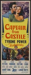 "Movie Posters:Adventure, Captain from Castile (20th Century Fox, 1947). Insert (14"" X 36"").Adventure. Starring Tyrone Power, Jean Peters, Cesar Rome..."