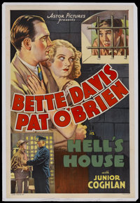 "Hell's House (Astor, R-1930s). One Sheet (27"" X 41""). Crime Drama. Starring Bette Davis, Pat O'Brien, Junior C..."