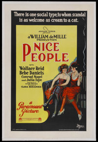 "Nice People (Paramount, 1922). One Sheet (27"" X 41"") Style B. Comedy. Starring Bebe Daniels, Wallace Reid, Wil..."