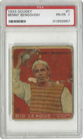 Baseball Cards:Singles (1930-1939), 1933 Goudey Benny Bengough #1 PSA PR-FR 1. A nice place-filleruntil you can upgrade to a better number one card for your G...
