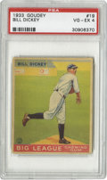 Baseball Cards:Singles (1930-1939), 1933 Goudey Bill Dickey #19 PSA VG-EX 4. Another nice Hall of Fame card from the Big Three set. Typical corner wear is the...