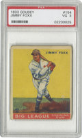"""Baseball Cards:Singles (1930-1939), 1933 Goudey Jimmy Foxx #154 PSA VG 3. The man who made the 500 HomeRun Club a """"club,"""" and not just a party of one, swings ..."""