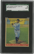 Baseball Cards:Singles (1930-1939), 1933 World Wide Gum (V353) Babe Ruth #80 SGC Authentic. From the Canadian Goudey issue of 1933 we offer this fine cardboard...