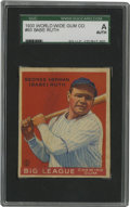 Baseball Cards:Singles (1930-1939), 1933 World Wide Gum (V353) Babe Ruth #93 SGC Authentic. Baseball's first Home Run King earned global respect for both his o...