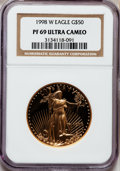 Modern Bullion Coins: , 1998-W G$50 One-Ounce Gold Eagle PR69 Ultra Cameo NGC. NGC Census:(1041/331). PCGS Population (1305/81). Numismedia Wsl. ...
