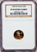 Modern Bullion Coins: , 1998-W G$5 Tenth-Ounce Gold Eagle PR69 Ultra Cameo NGC. NGC Census:(888/464). PCGS Population (1492/93). Numismedia Wsl. ...