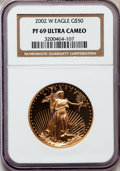 Modern Bullion Coins, 2002-W G$50 One-Ounce Gold Eagle PR69 Ultra Cameo NGC. NGC Census:(657/579). PCGS Population (1009/144). Numismedia Wsl. ...