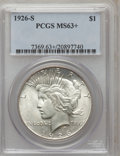 Peace Dollars: , 1926-S $1 MS63+ PCGS. PCGS Population (2131/2577). NGC Census:(1366/2099). Mintage: 6,980,000. Numismedia Wsl. Price for p...