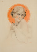 Pin-up and Glamour Art, CHARLES GATES SHELDON (American, 1889-1960). Pin-Up withHeadphones. Pastel and pencil on board. 20.5 x 15 in.. Signedl...