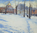 Mainstream Illustration, THOMAS WAGNER (American, 20th Century). Boston State House inWinter. Oil on canvas. 30 x 34 in.. Signed lower left. ...