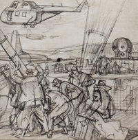 DEAN CORNWELL (American, 1892-1960) Airfield Print on paper 12 x 12 in. Not signed  F