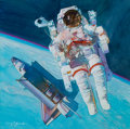 Paintings, MARK SCHULER (American, 20th Century). Space Walk 1984, 1989. Acrylic on board. 11.75 x 12 in.. Signed lower left. F...
