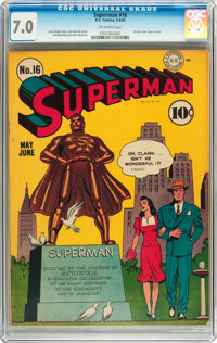 Superman #16 (DC, 1942) CGC FN/VF 7.0 Off-white pages