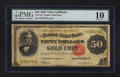 Large Size:Gold Certificates, Fr. 1197 $50 1882 Gold Certificate PMG Very Good 10.. ...