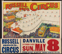 """Russell Brothers Circus Poster (Russell Bros., 1938). Poster (27"""" X 41"""") With Attached Date and Place Snipe (1..."""