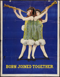 "Hilton Sisters - Clarinet Playing Siamese Twins (Quigley Litho., 1920s). Three Sheet (42"" X 53""). Vaudeville..."