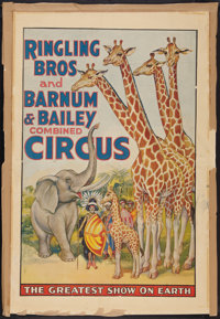 """Circus Poster (Ringling Brothers and Barnum & Bailey, 1940s). Poster (25"""" X 38""""). Miscellaneous"""