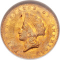 Gold Dollars, 1855-C G$1 MS61 NGC. Variety 2....