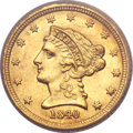 Liberty Quarter Eagles, 1840-C $2 1/2 MS61 PCGS Secure. Variety 1....