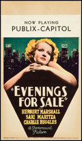 """Movie Posters:Comedy, Evenings for Sale (Paramount, 1932). Midget Window Card (8"""" X 14"""").Comedy.. ..."""