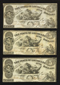 Obsoletes By State:Louisiana, Baton Rouge- State of Louisiana $5 Oct. 10, 1862 Three Examples. ... (Total: 3 notes)