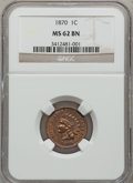 Indian Cents: , 1870 1C MS62 Brown NGC. NGC Census: (71/184). PCGS Population(21/45). Mintage: 5,275,000. Numismedia Wsl. Price for proble...
