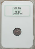 Three Cent Silver: , 1859 3CS MS64 NGC. NGC Census: (88/53). PCGS Population (80/39).Mintage: 364,200. Numismedia Wsl. Price for problem free N...