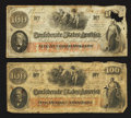 Confederate Notes:1862 Issues, T41 $100 1862 Two Examples.. ... (Total: 2 notes)
