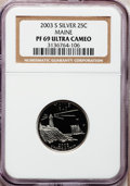 Proof Statehood Quarters: , 2003-S 25C Maine Silver PR69 Ultra Cameo NGC. NGC Census:(5613/1638). PCGS Population (5529/243). Numismedia Wsl. Price f...