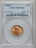Lincoln Cents: , 1948-S 1C MS67 Red PCGS. PCGS Population (159/0). NGC Census: (926/0). Mintage: 81,735,000. Numismedia Wsl. Price for probl...